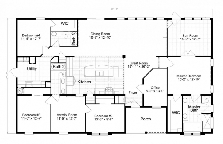Amazing 3 Bedroom Single Wide Mobile Home Floor Plans Luxury Mobile Home Single Wide Floor Plans Picture