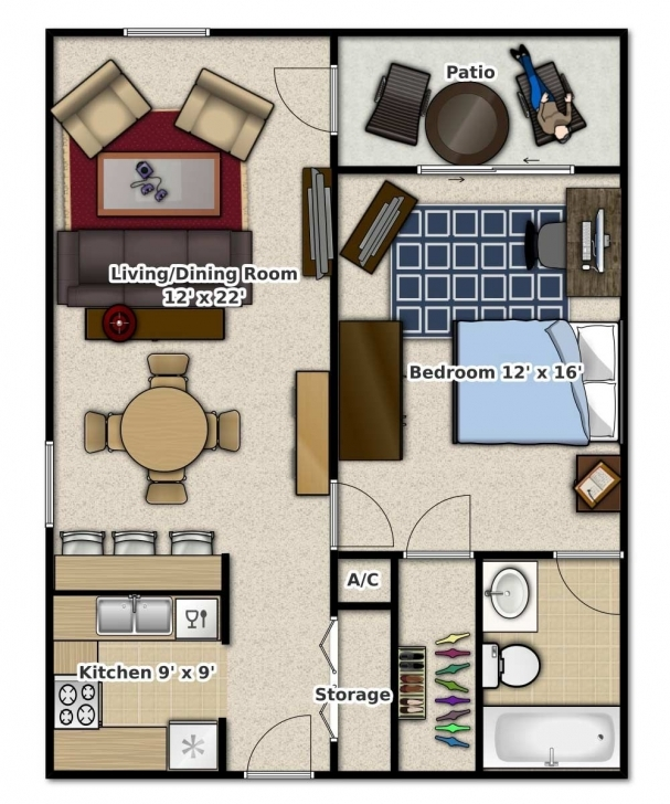 Astonishing 1 Bedroom, 1 Bathroom. This Is An Apartment Floor Plan 1 Bedroom Apartment Floor Plans Picture