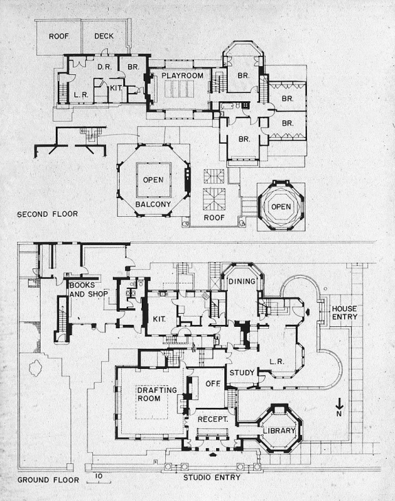 Astonishing Frank Lloyd Wright's Plan For His House And Studio In 1889, Oak Park Frank Lloyd Wright Floor Plans Picture
