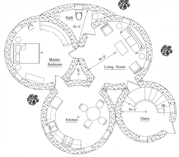Astonishing Roundhouse Plan | Earthbag House Plans Round House Plans Image