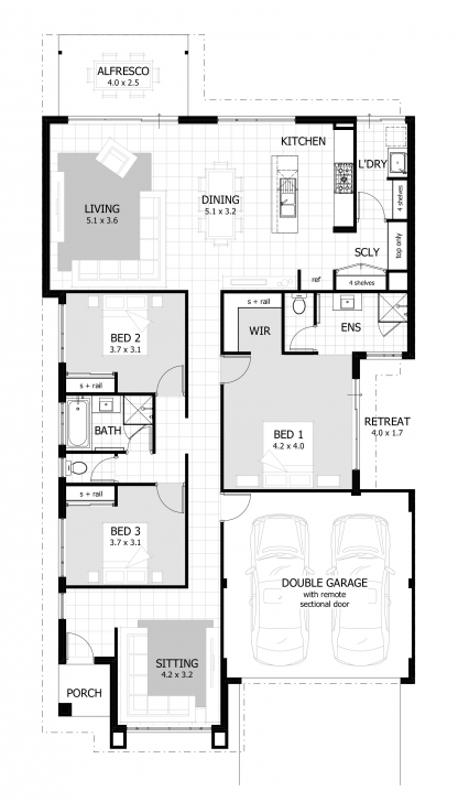 Awesome 3 Bedroom House Plans & Home Designs | Celebration Homes 3 Bedroom House Plans Picture