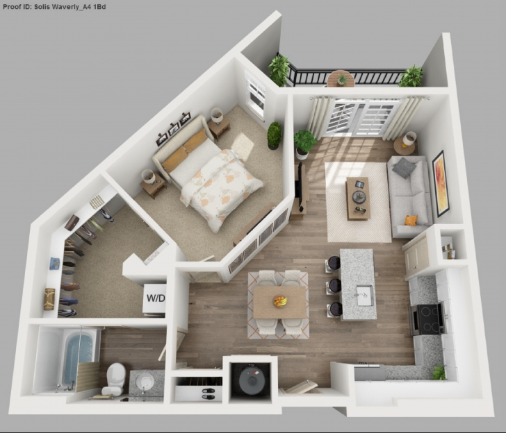 Awesome Download 1 Bedroom Apartment Floor Plans 3D | Spc House Expert 1 Bedroom House Plans Image