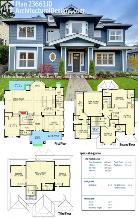 Awesome Plan 23663Jd: 6 Bedroom Beauty With Third Floor Game Room And House Plans With Pictures Image