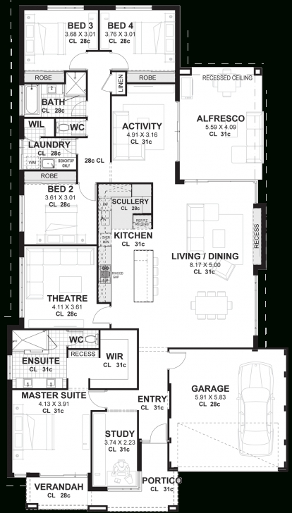 Best 4 Bedroom House Plans & Home Designs Perth | Vision One Homes House Design Plans Pic