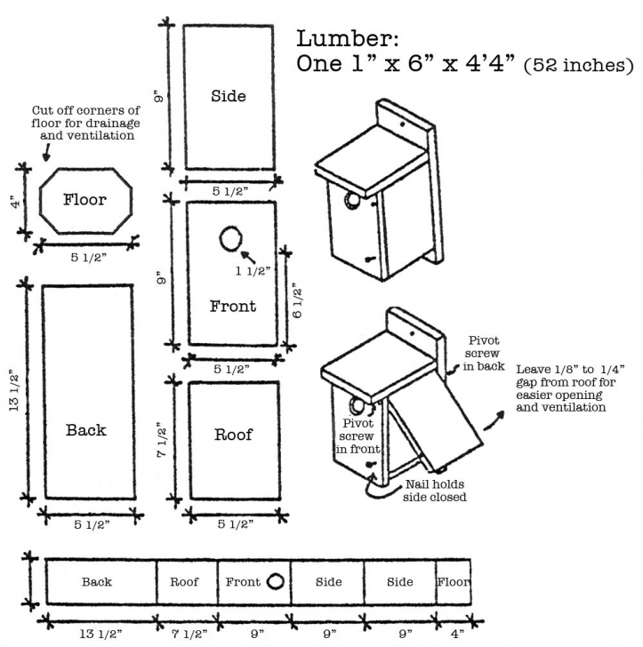 Best How To Build A Bluebird House From A 1X6 Board, 4 1/2' Long. | Daily Bluebird House Plans Picture