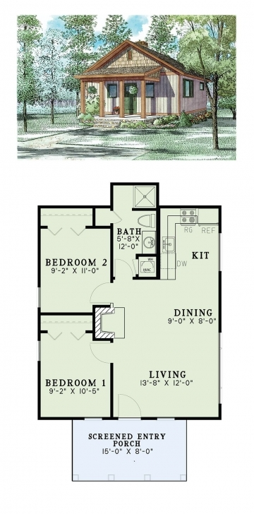 Best Tiny House Plan 82343   Total Living Area: 2 Bedrooms And 1 Bathroom Tiny Houses Plans Picture