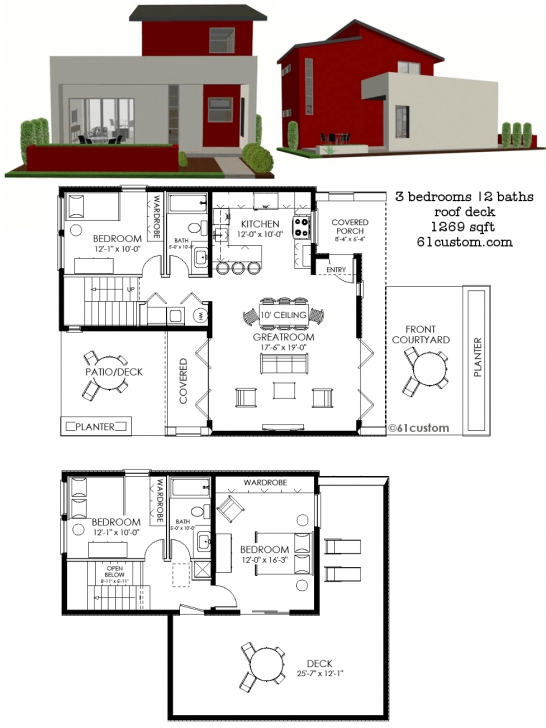 Brilliant Contemporary Small House Plan | 61Custom | Contemporary & Modern Casita House Plans Picture