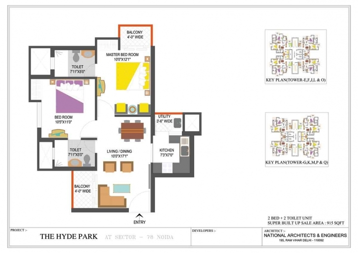 Classy Floor Plan - Iitl Nimbus Group - The Hyde Park At Sector - 78, Noida | Hyde Park Floor Plan Pic