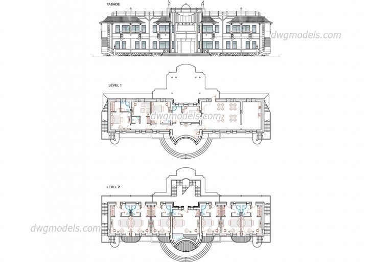 Classy Hotels, Motels Dwg Models, Free Download Hotel Floor Plan Dwg Picture
