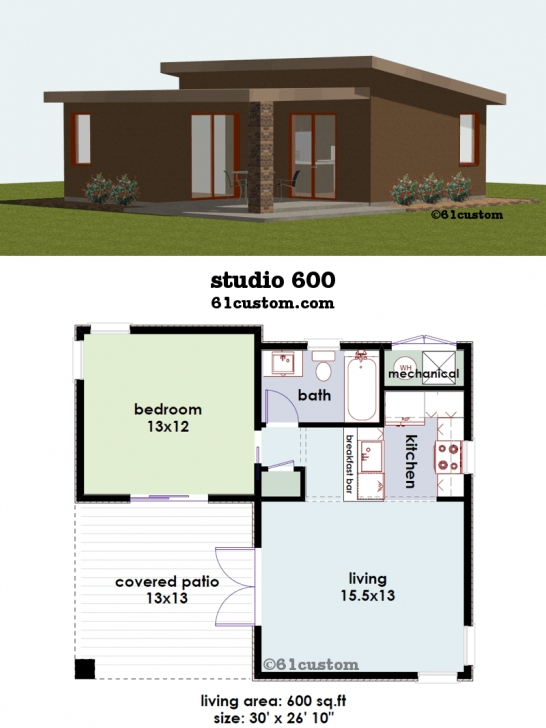 Classy Studio600: Small House Plan | 61Custom | Contemporary & Modern House 600 Sq Ft House Plans Image