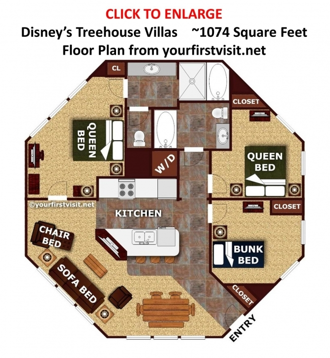 Classy The Living/dining/kitchen Space At The Treehouse Villas At Disney's Saratoga Springs Treehouse Villa Floor Plan Picture