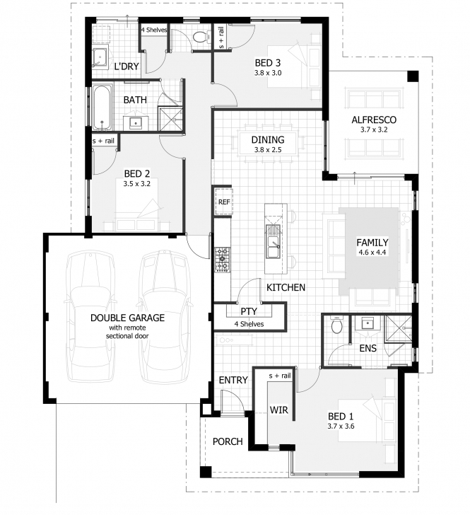 Cool 3 Bedroom House Plans & Home Designs | Celebration Homes 3 Bedroom House Plans With Photos Image