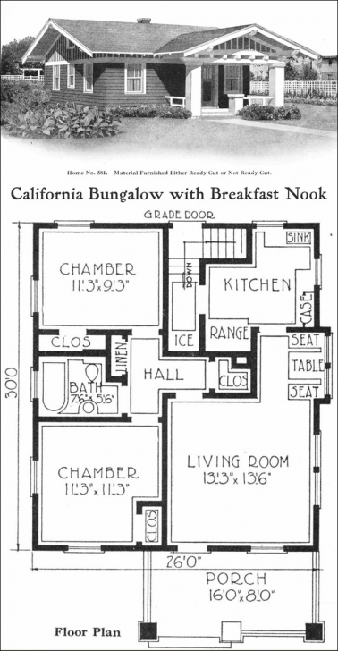 Cool California-Style Bungalow - Vintage Small House Plans - 780 Sq. Ft Little House Plans Image