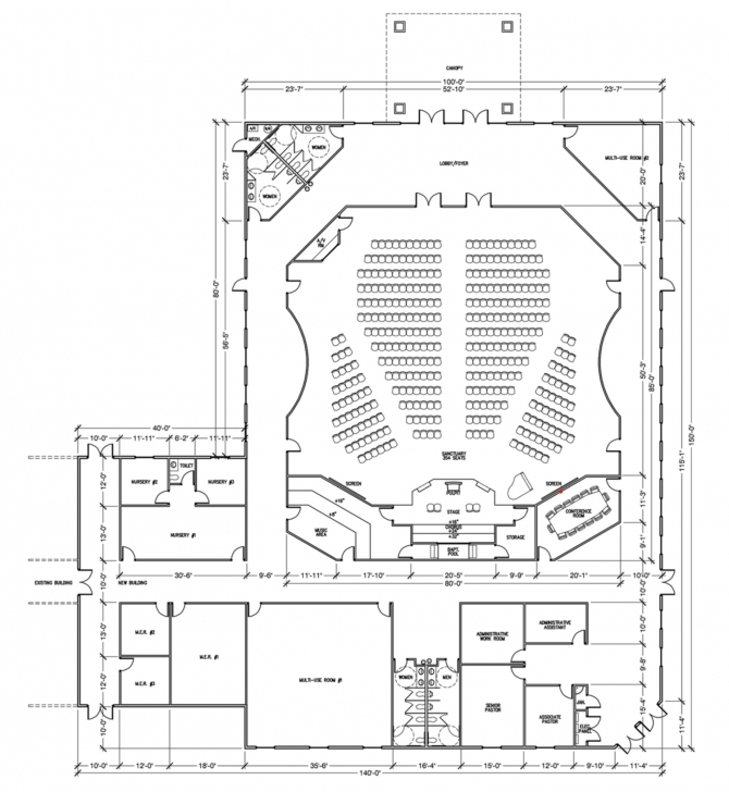 Cool Church Design Plans - 3D Renderings & Floor Plans | General Steel Church Sanctuary Floor Plans Photo