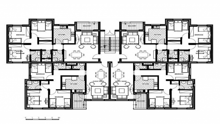 Exquisite Apartment Unit Building Plans 4 Family Eight-Plex Modern House 4 Floor Apartment Plan Picture