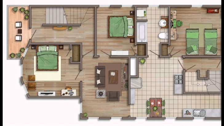 Exquisite Floor Plan Rendering - Youtube Rendered Floor Plan Image