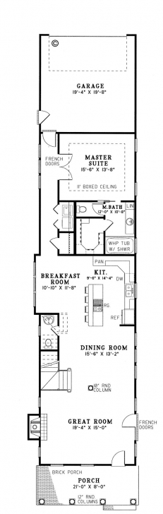 Fantastic First Floor Plan Of Colonial Narrow Lot Southern Vacation House Plan Narrow House Plans Pic