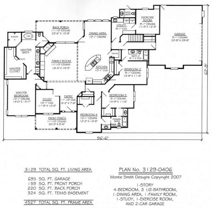 Fantastic One Story Four Bedroom House Plans | Story, 4 Bedroom, 3.5 Bathroom 4 Bedroom 3 Bath House Plans Photo