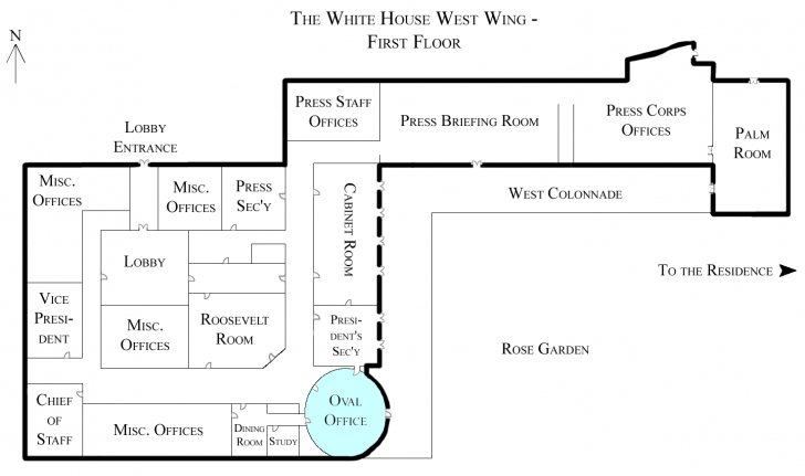 Fascinating File:white House West Wing - 1St Floor With The Oval Office White House Floor Plan West Wing Picture