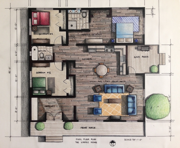 Good Rendered Floor Plan || Hand Rendered Using Prismacolor Pencils Rendered Floor Plan Picture