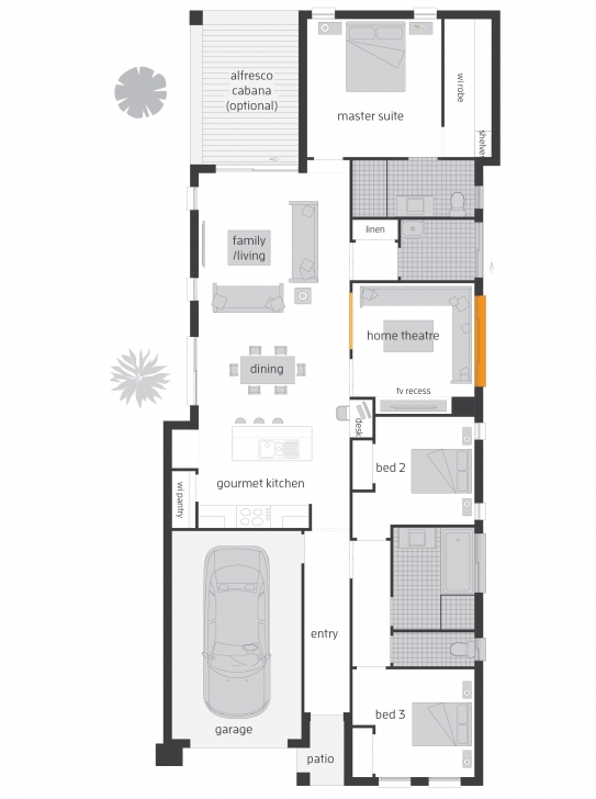 Gorgeous Siena - Floorplans | Mcdonald Jones Homes Floor Plans For Narrow Blocks Image