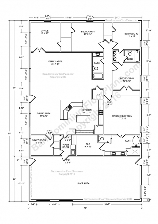 Great 30 Barndominium Floor Plans For Different Purpose | Metal Building Pole Barn House Plans Image