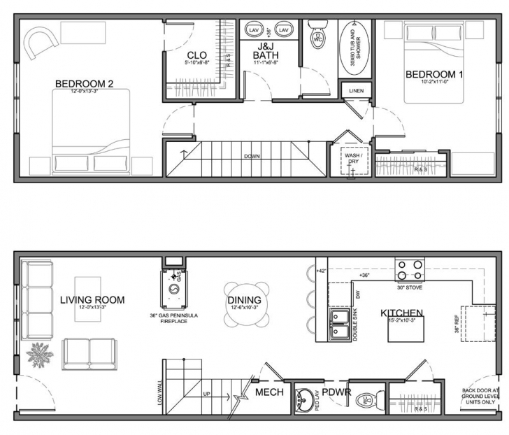 Image of Apartment Unit Plans | Residential Units Are 20 Wide Or Wider But On Long Narrow Apartment Floor Plans Photo