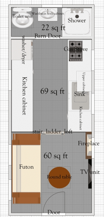 Image of Free Tiny House Floor Plans: 8' X 20' Tiny House Plan Free Tiny House Plans Pic