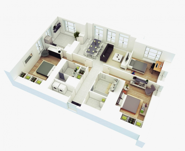 Image of Home Plan 3D Best Of 25 More 3 Bedroom 3D Floor Plans 3d House Plans Image