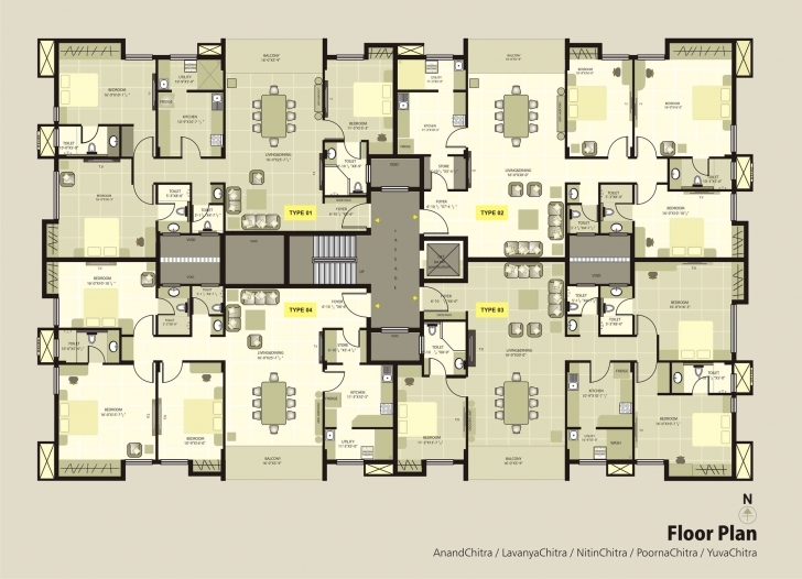 Image of Krc Dakshin Chitra - Luxury Apartments Floorplan | Luxury Apartments Apartment Floor Plan Picture