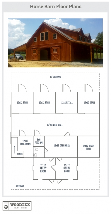 Image of North Carolina Horse Barn With Loft Area [Floor Plans] | Woodtex Horse Barn With Apartment Floor Plans Picture