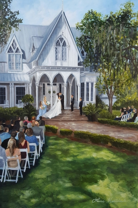 Incredible Ceremony Painting By Laura At Rose Hill Plantation House, Bluffton Rose Hill Plantation House Pic