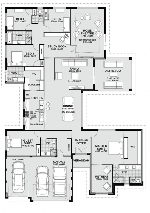 Incredible Floor Plan Friday: 5 Bedroom Entertainer 5 Bedroom House Floor Plans Pic