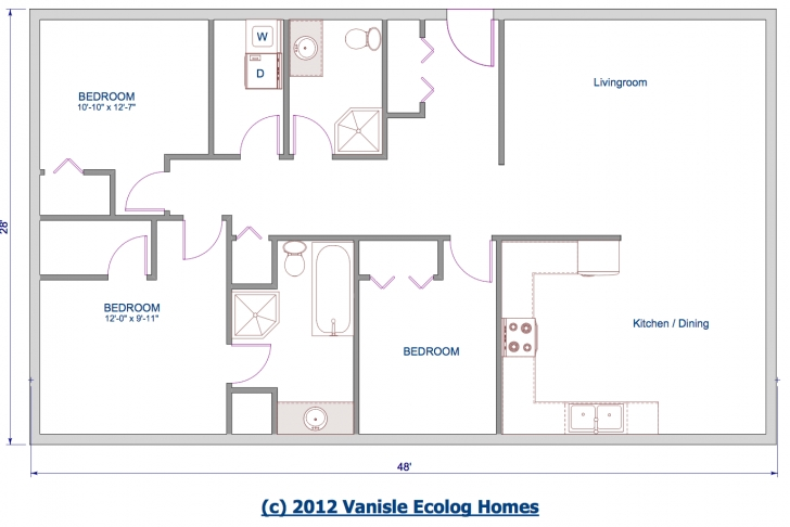 Inspirational One Level Floor Plans 3 Bed | Floor Plan 1344 Sqft 28'x48' | House One Level House Plans Photo