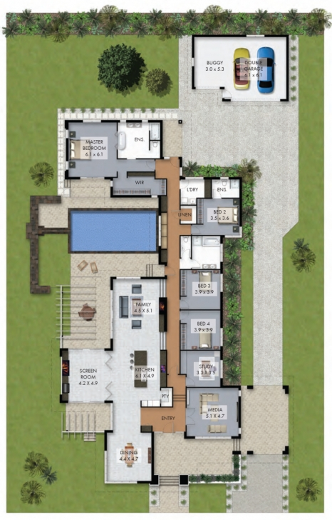 Inspiring Floor Plan Friday: Luxury 4 Bedroom Family Home With Pool House Plans With Pool Pic