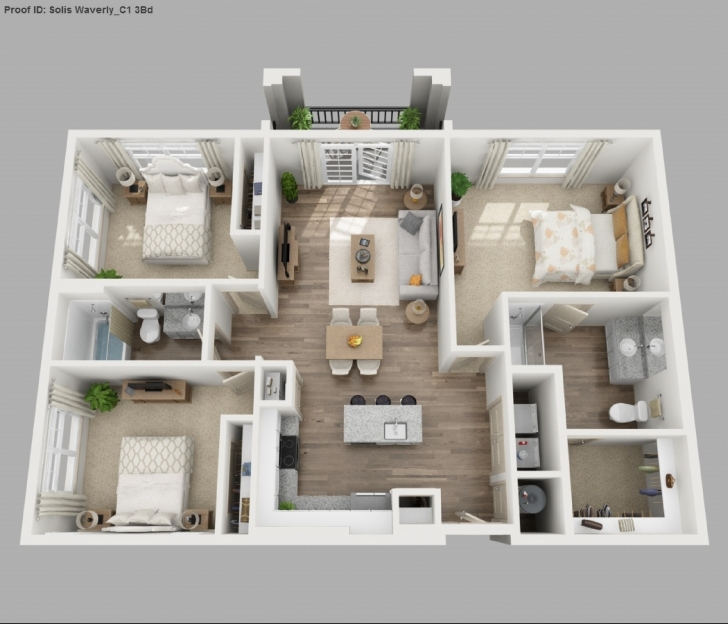 Inspiring Three Bedroom Apartment 3D Floor Plans Floor Plans And Floor Plans For 3 Bedroom Apartments Picture