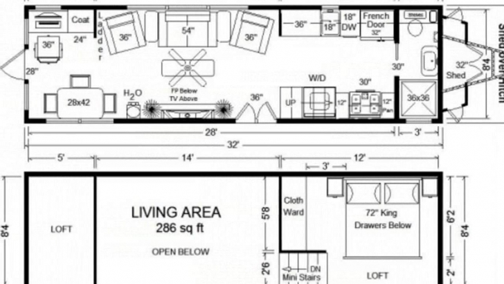 Inspiring Tiny House Floor Plans: 32' Long Tiny Home On Wheels Design - Youtube Little House Plans Image