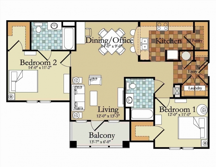 Interesting 23 Modern 2 Bedroom Apartment Floor Plans | Girlwich 2 Bedroom Apartment Floor Plans Photo