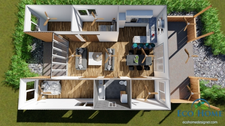 Interesting Sch18 2 X 40Ft Container Home Plans | Eco Home Designer Container House Plans Image