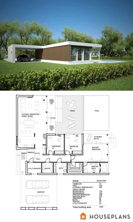 Interesting Small Modern House Plan And Elevation 1500Sft Plan #552-2 | House Small Modern House Plans Pic