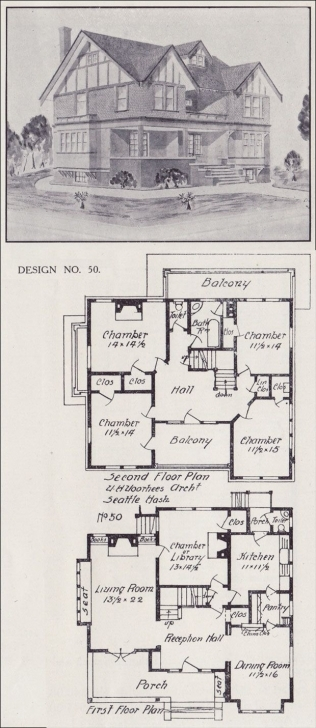 Interesting Tudor House Plan - Seattle Vintage Residential Architecture - 1908 Tudor House Plans Image