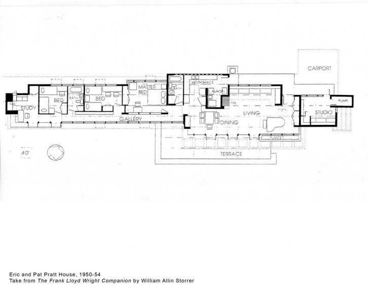 Latest Eric And Pat Pratt House Plan (1951), Frank Lloyd Wright | Frank Frank Lloyd Wright Floor Plans Pic