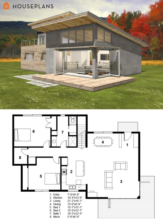 Latest Small Modern Cabin House Plan By Freegreen | Energy Efficient House Modern House Plans Picture