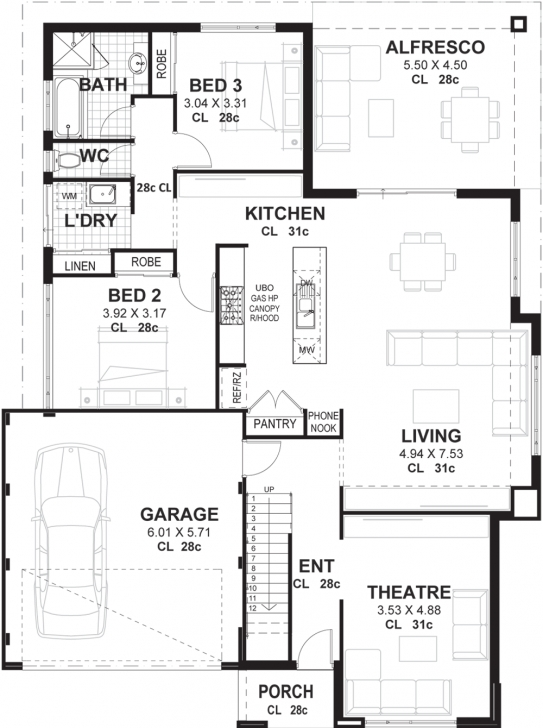 Marvelous 3 Bedroom 2 Storey Home Designs Perth | Vision One Homes 3 Bedroom 2 Bath Floor Plans Photo