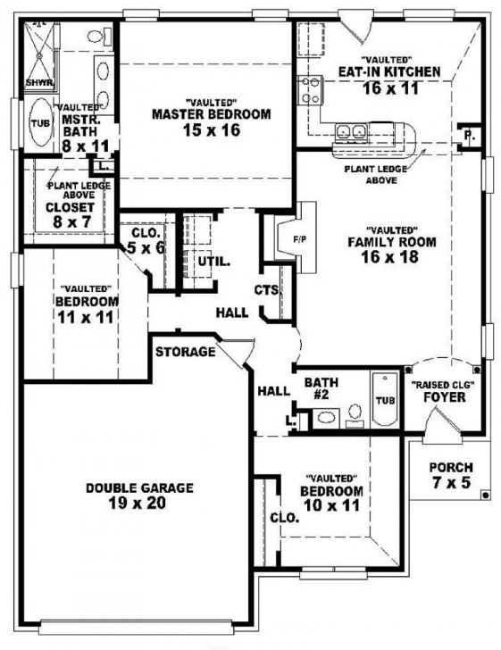 Marvelous 3Bed 2Bath Floor Plans Beautiful 3 Bedroom 2 Bath House Plans With 3bed 2bath Floor Plans Picture