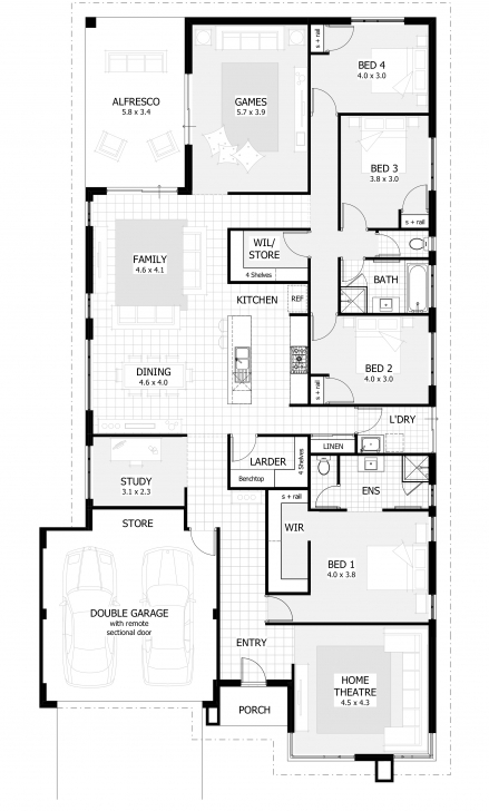 Marvelous 4 Bedroom House Plans & Home Designs | Celebration Homes Single Story House Plans Pic