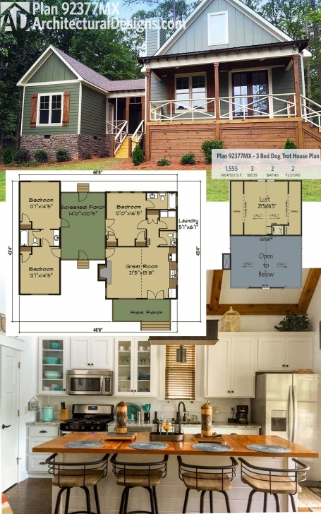 Must See Architectural Designs Dog Trot House Plan 92377Mx Gives You 3 Beds Dogtrot House Plans Pic