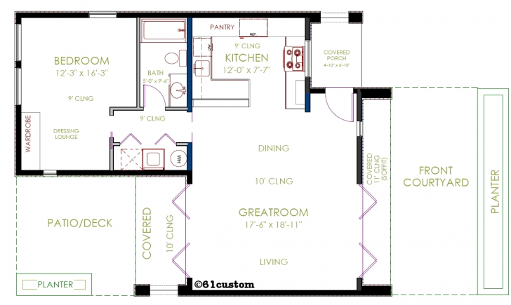 Must See Casita Plan: Small Modern House Plan | 61Custom | Contemporary Casita House Plans Photo
