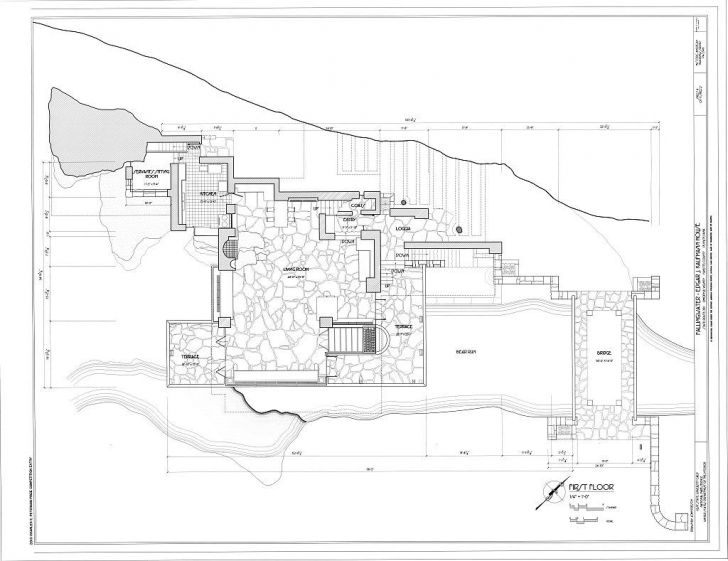 Must See Frank Lloyd Wright Waterfall House Floor Plans | Architektura Frank Lloyd Wright Floor Plans Image