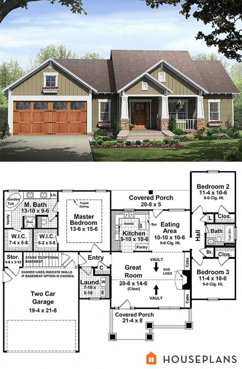 Must See Small Bungalow House Plan With Huge Master Suite 1500Sft House Plans House Plans With Pictures Image